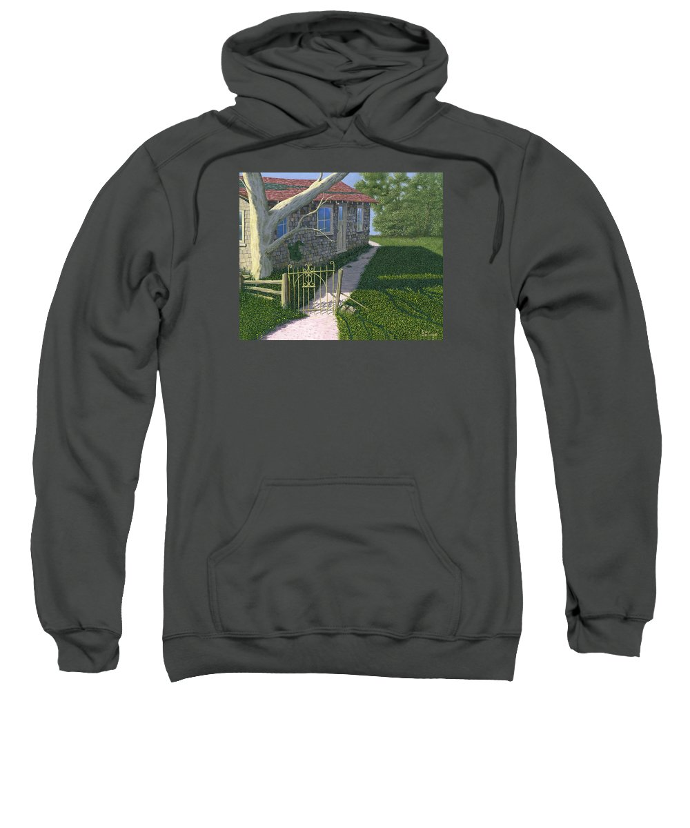 Old Farm Sweatshirt featuring the painting The Iron Gate by Gary Giacomelli