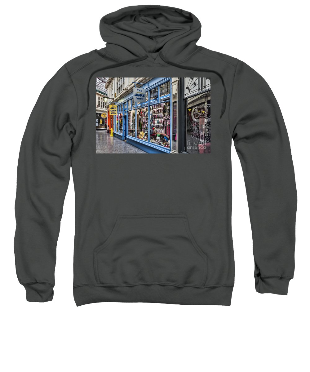 High Street Arcade Cardiff Sweatshirt featuring the photograph The Joke Shop by Steve Purnell