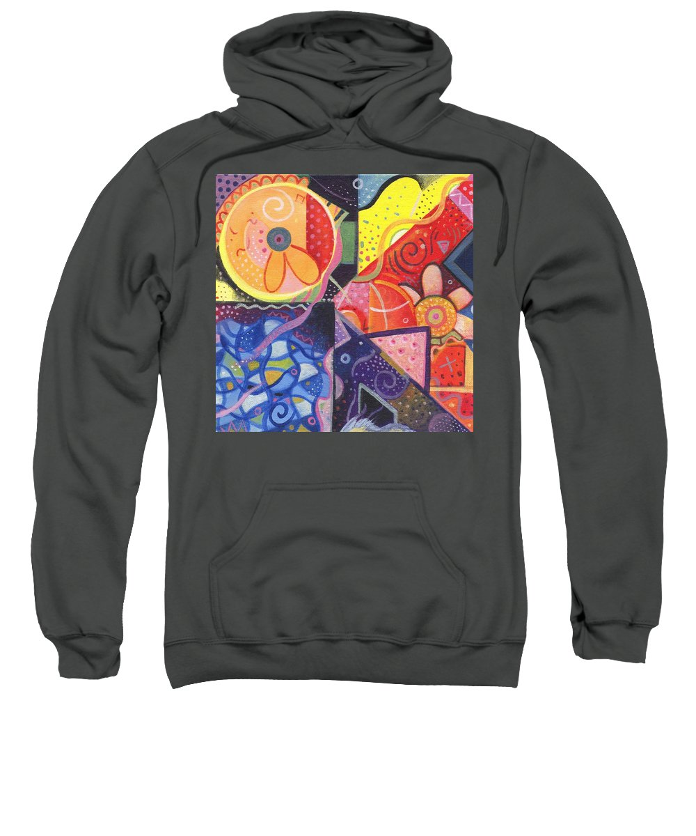 Abstract Sweatshirt featuring the painting The Joy Of Design Vll by Helena Tiainen