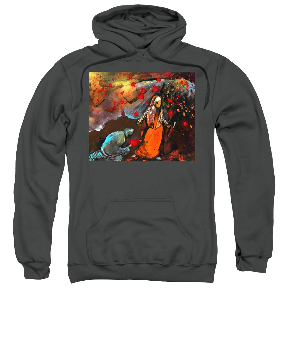 Valentine Sweatshirt featuring the painting The Knight Of Your Heart by Miki De Goodaboom