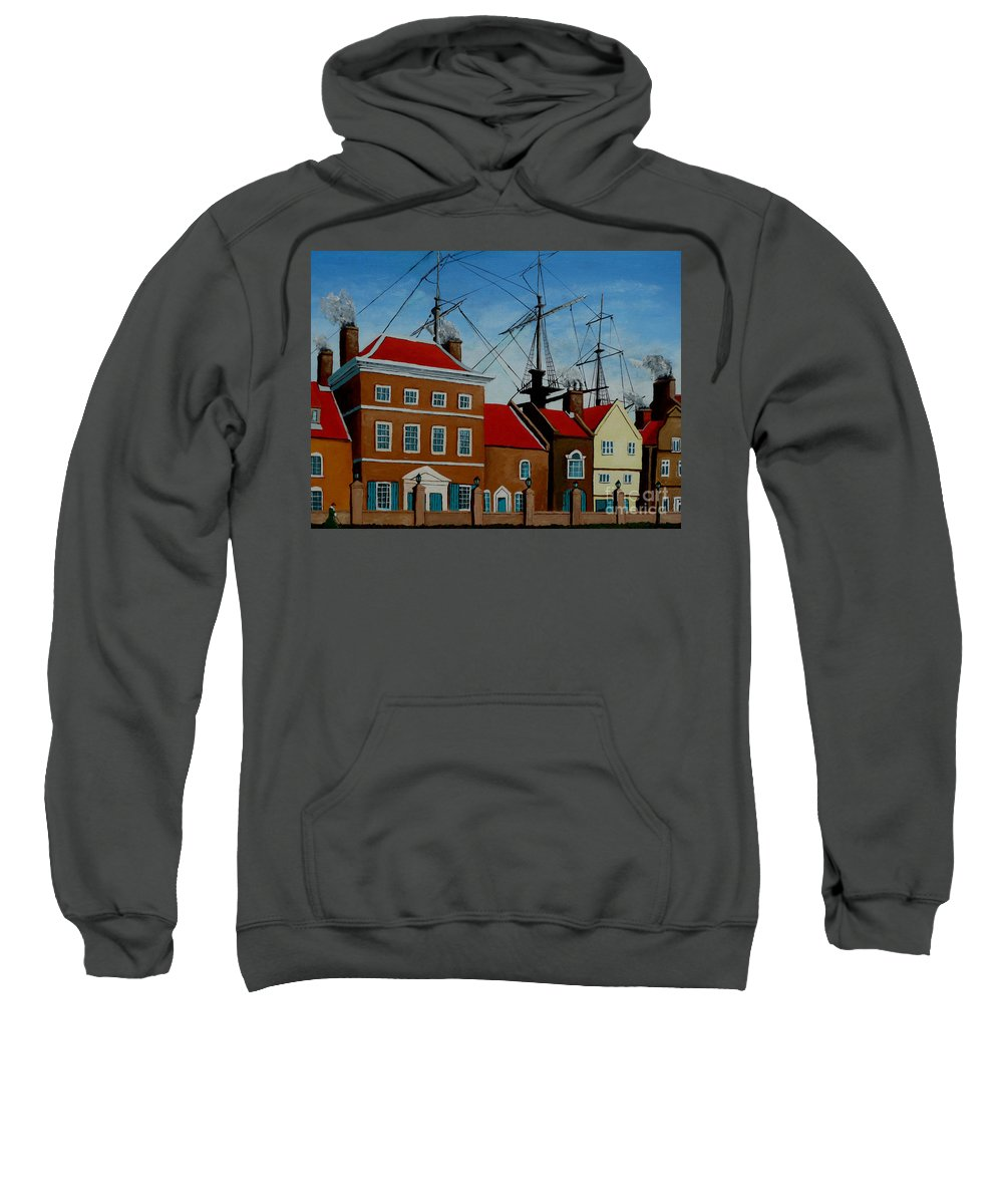 England Sweatshirt featuring the painting The Lady In Green by Anthony Dunphy