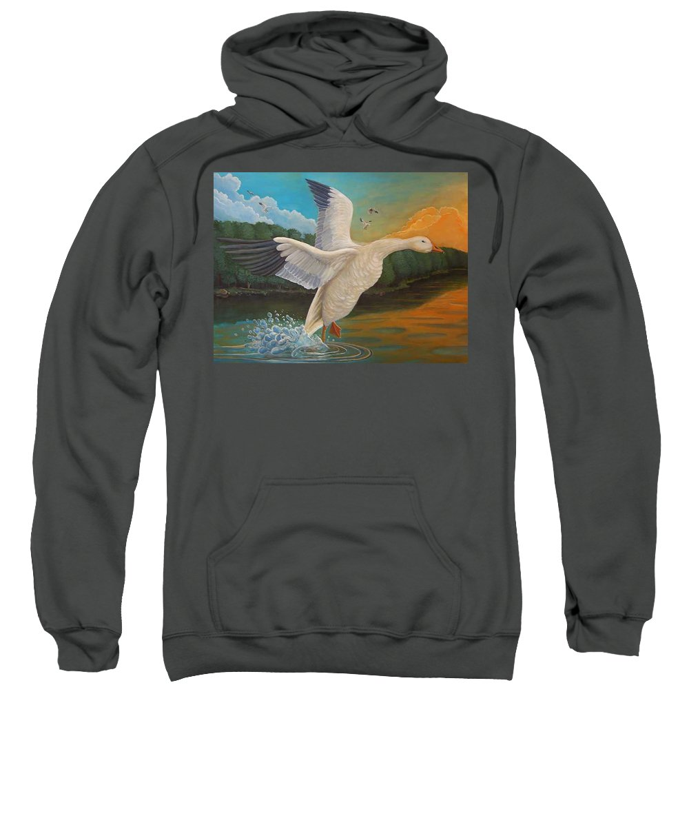 Rick Huotari Sweatshirt featuring the painting The Landing by Rick Huotari