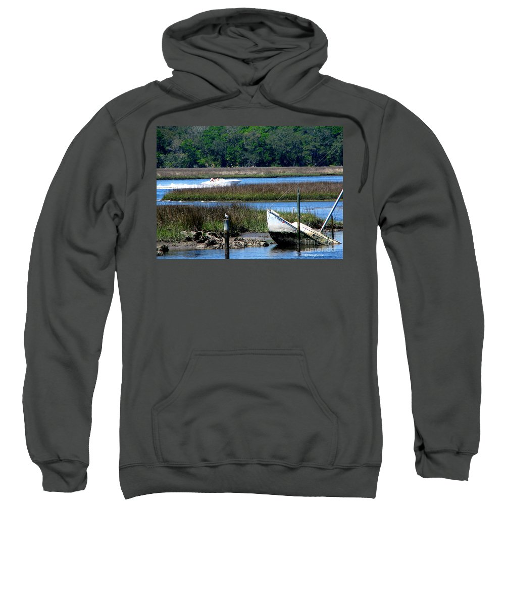 Art For The Wall...patzer Photography Sweatshirt featuring the photograph The Leak by Greg Patzer
