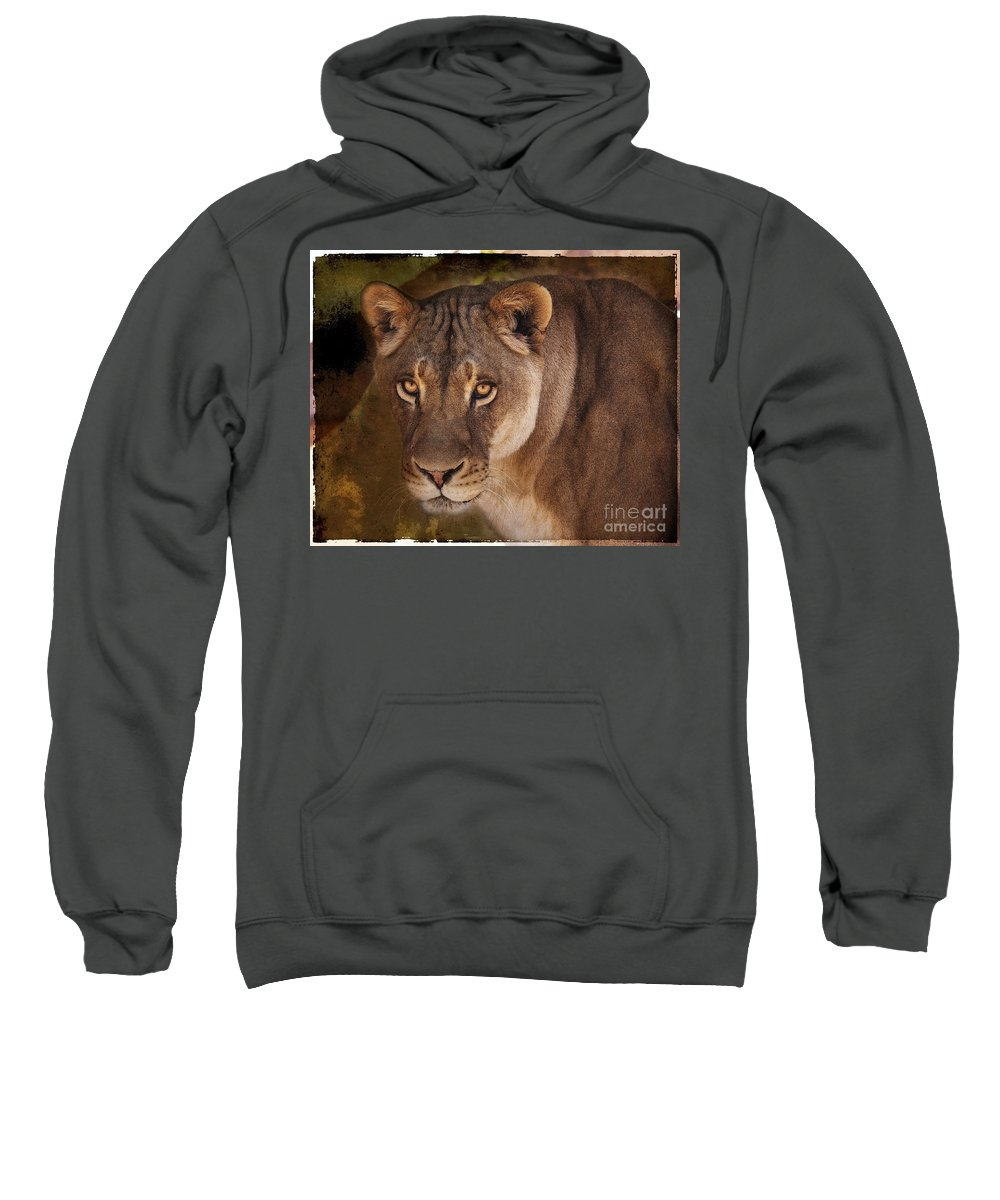 Wild Sweatshirt featuring the photograph The Lioness by Janice Pariza