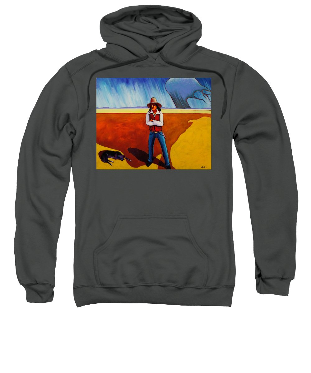 Native American Sweatshirt featuring the painting The Logic Of Solitude by Joe Triano