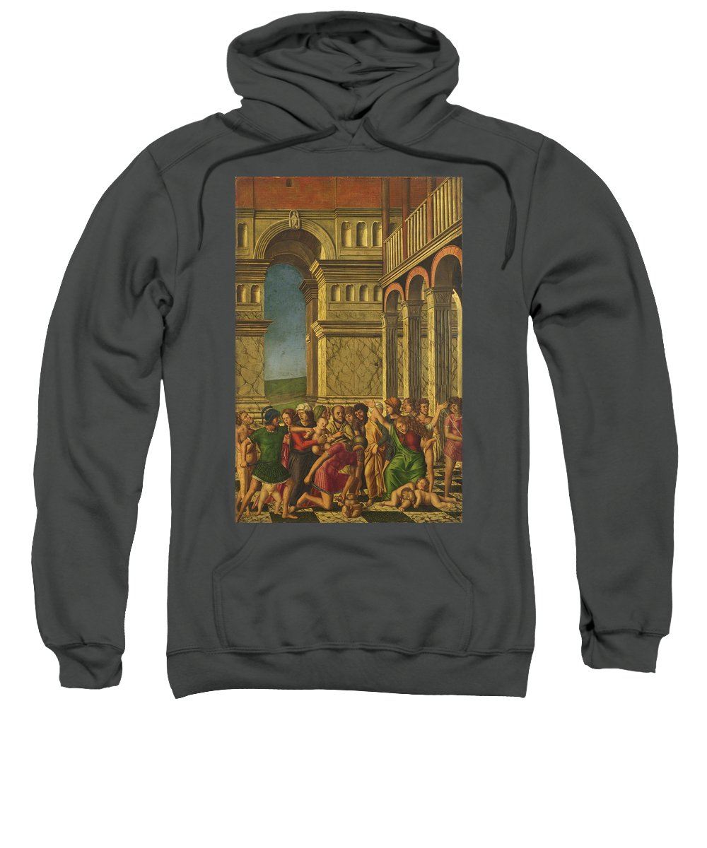 Girolamo Mocetto Sweatshirt featuring the painting The Massacre Of The Innocents by Girolamo Mocetto