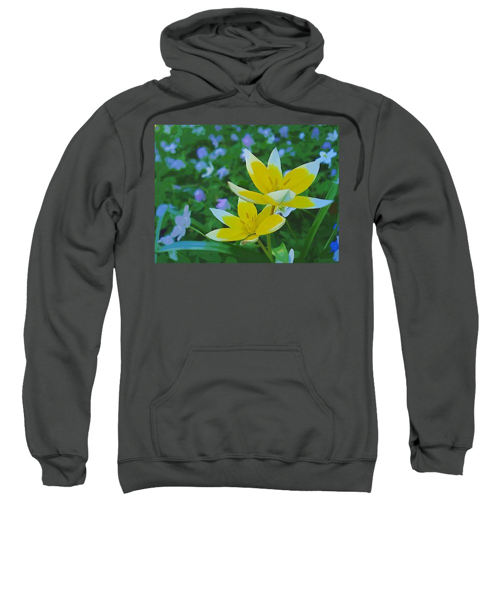 Landscape Sweatshirt featuring the mixed media The Most Beautiful Flowers by Pepita Selles