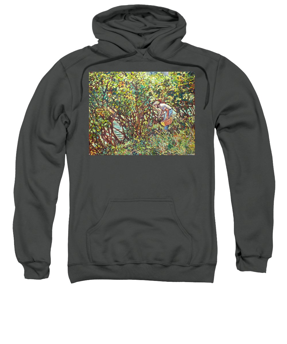 Landscape Sweatshirt featuring the painting The Mushroom Picker by Kendall Kessler