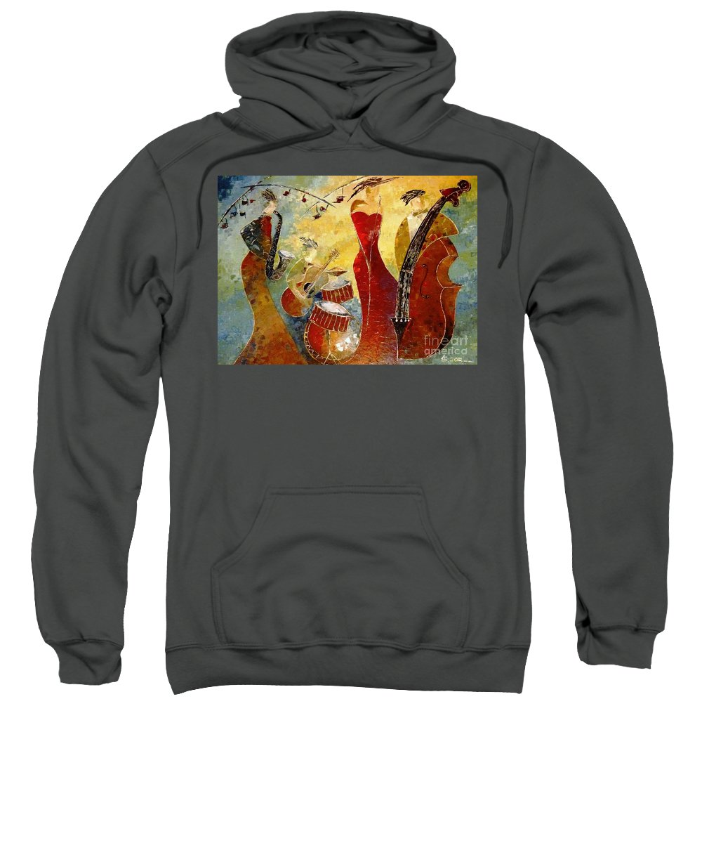 Music Sweatshirt featuring the painting The Music Never Stopped by Amalia Suruceanu