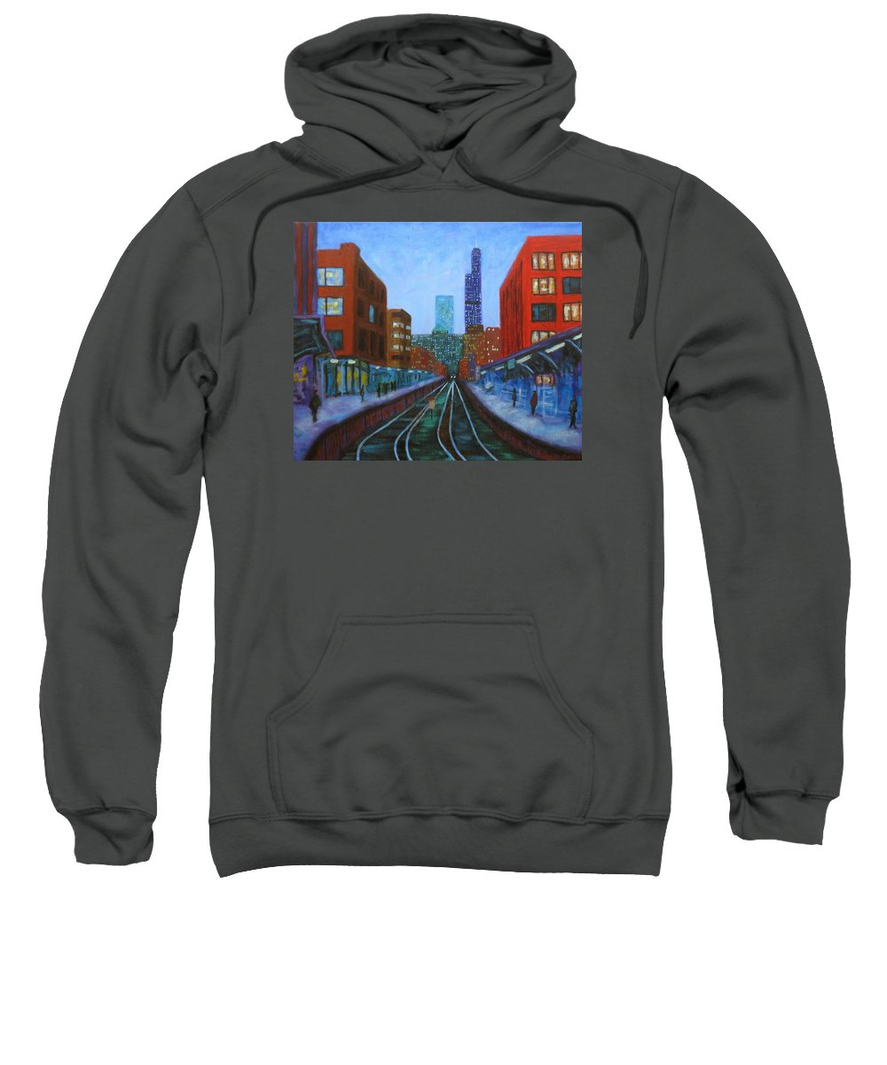 Chicago Art Sweatshirt featuring the painting The Next Train by J Loren Reedy