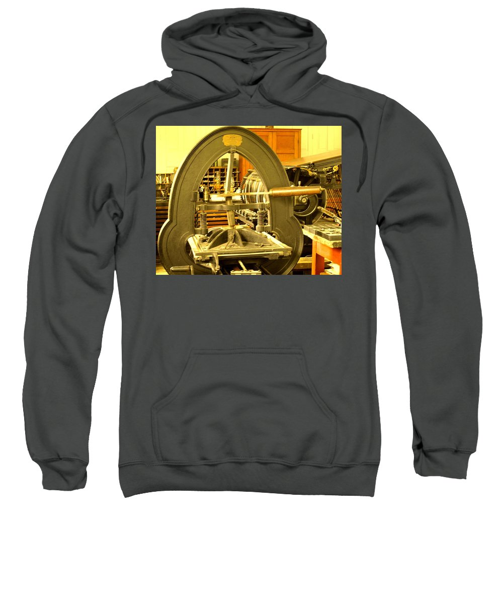 Pioneer Sweatshirt featuring the photograph The Old Printing Press by Ian MacDonald