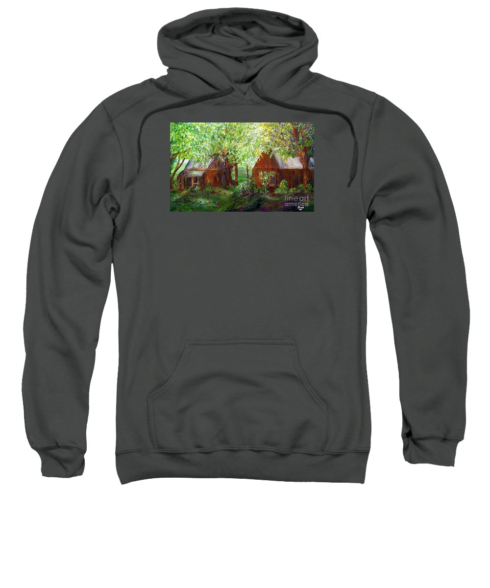 Landscape Sweatshirt featuring the painting The Old Swing  by Eloise Schneider Mote