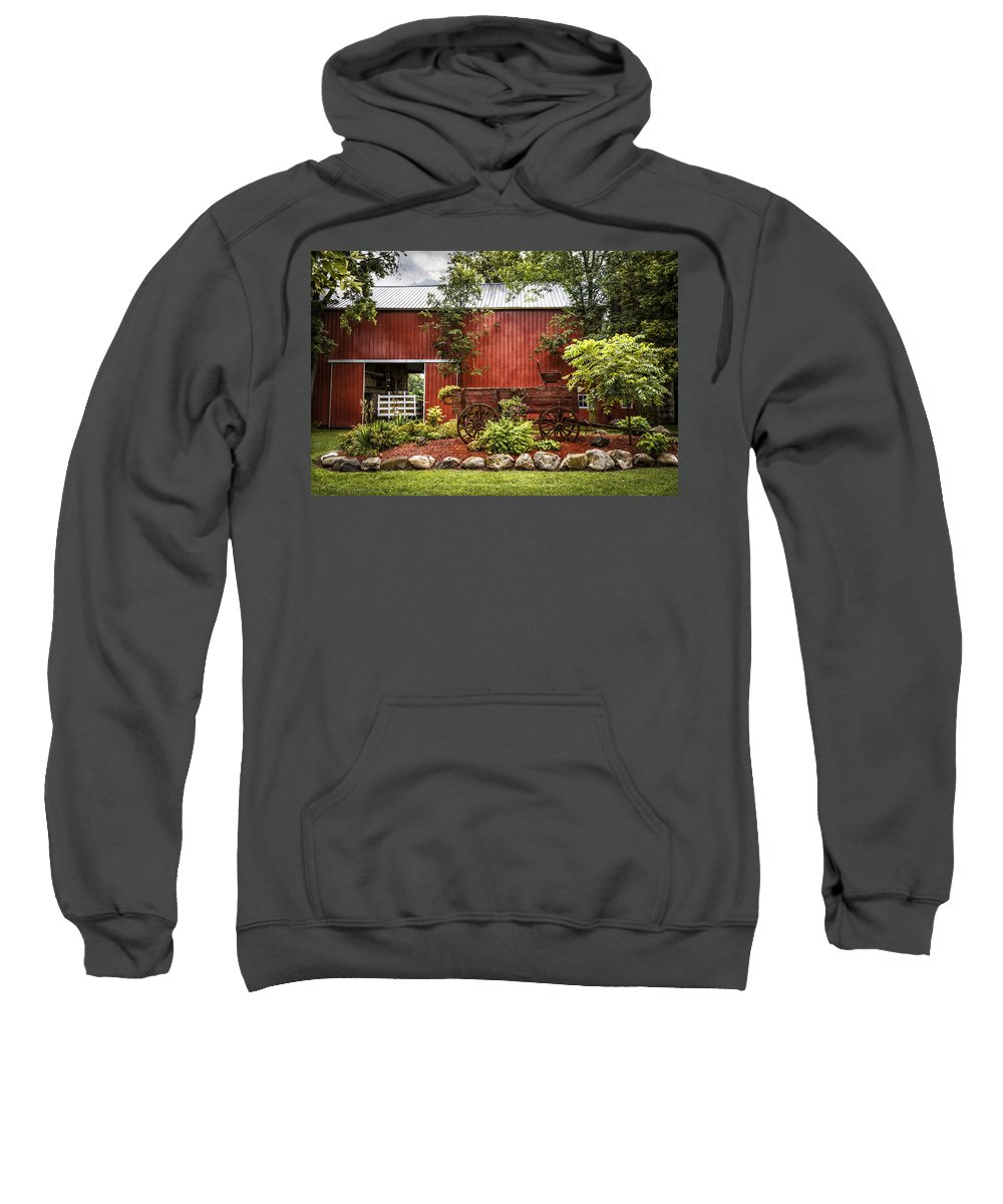 Barn Sweatshirt featuring the photograph The Old Wood Cart by Debra and Dave Vanderlaan