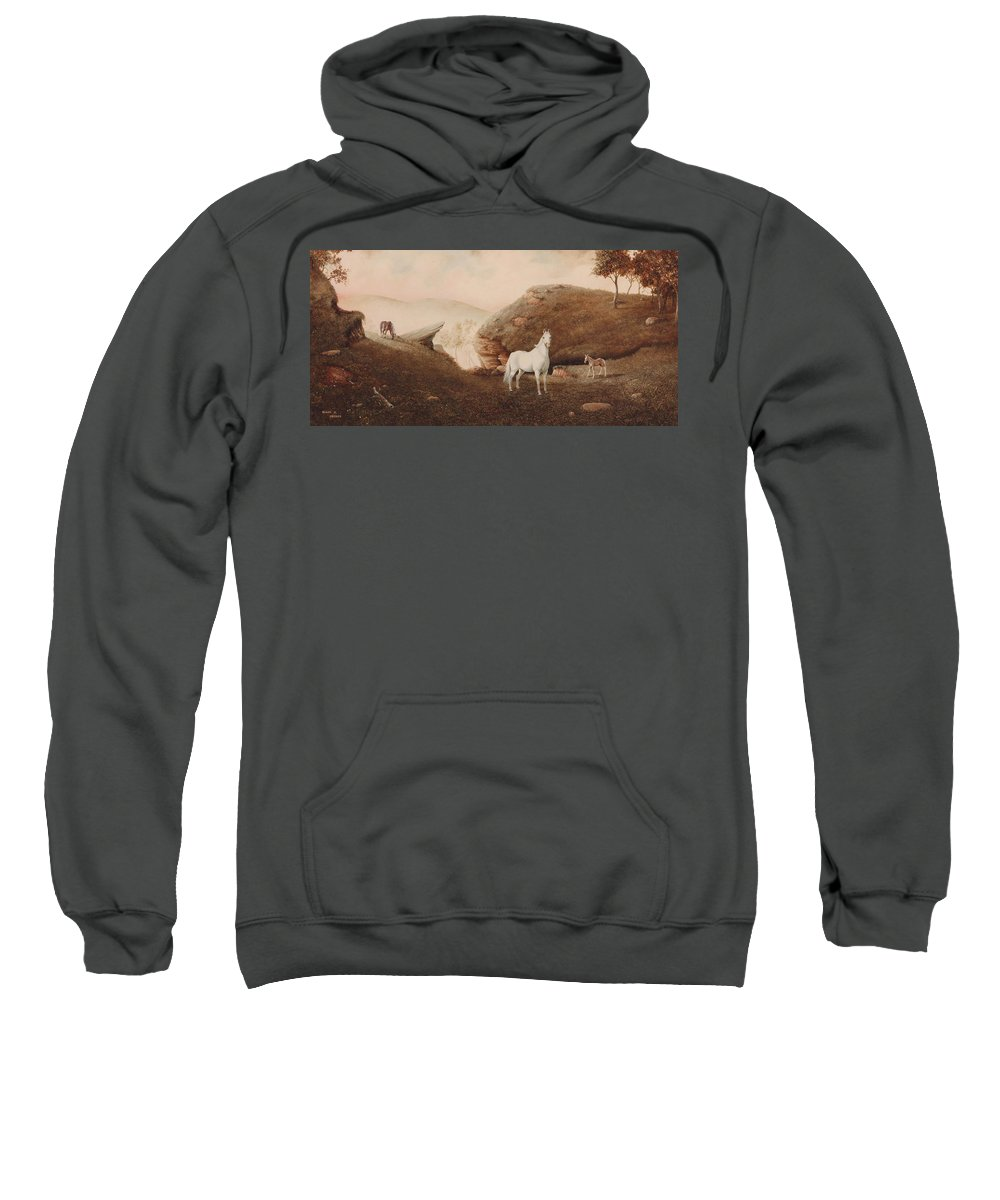 Horse Sweatshirt featuring the painting The Patriarch by Duane R Probus