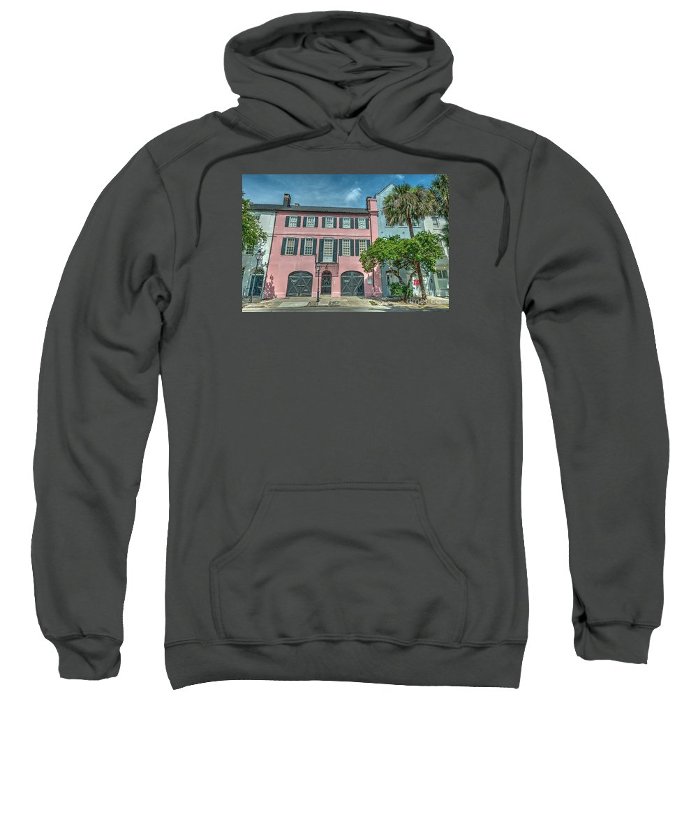 Rainbow Row Sweatshirt featuring the photograph The Pink House by Dale Powell