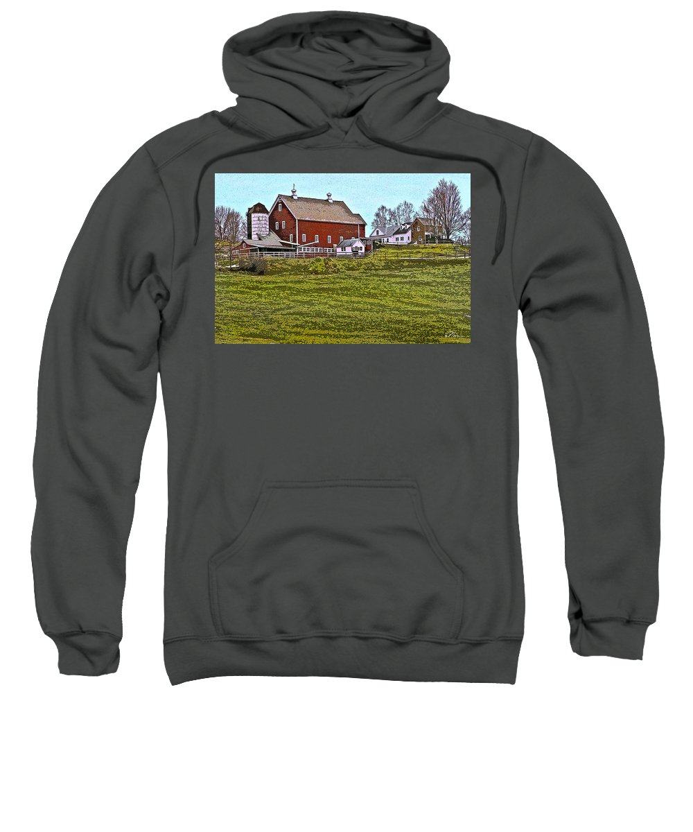 Landscape Sweatshirt featuring the digital art The Red Barn by Nancy Griswold
