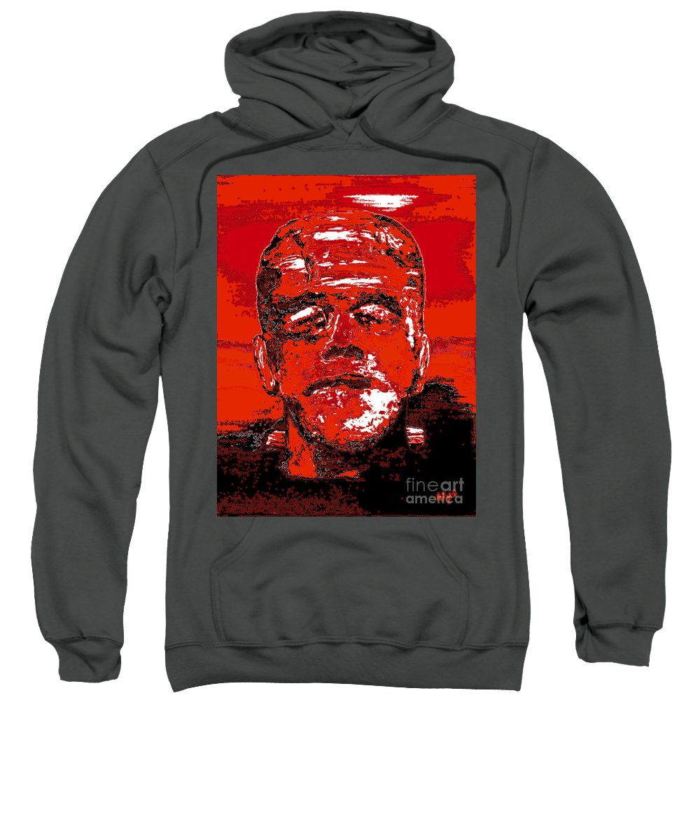 Digital Sweatshirt featuring the digital art The Red Monster by Alys Caviness-Gober