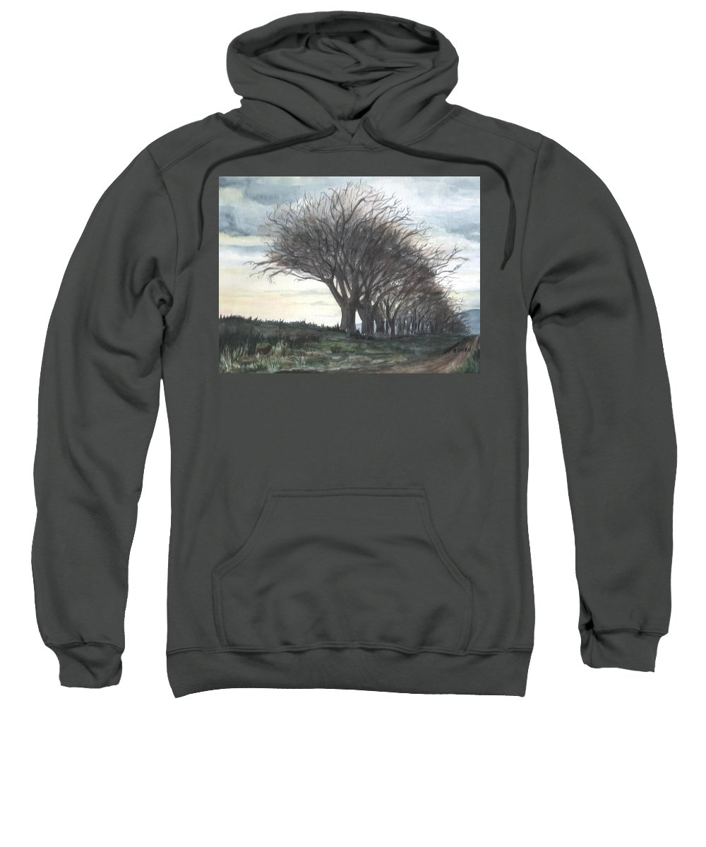 Watercolor Sweatshirt featuring the painting The Sentinels by Brenda Owen