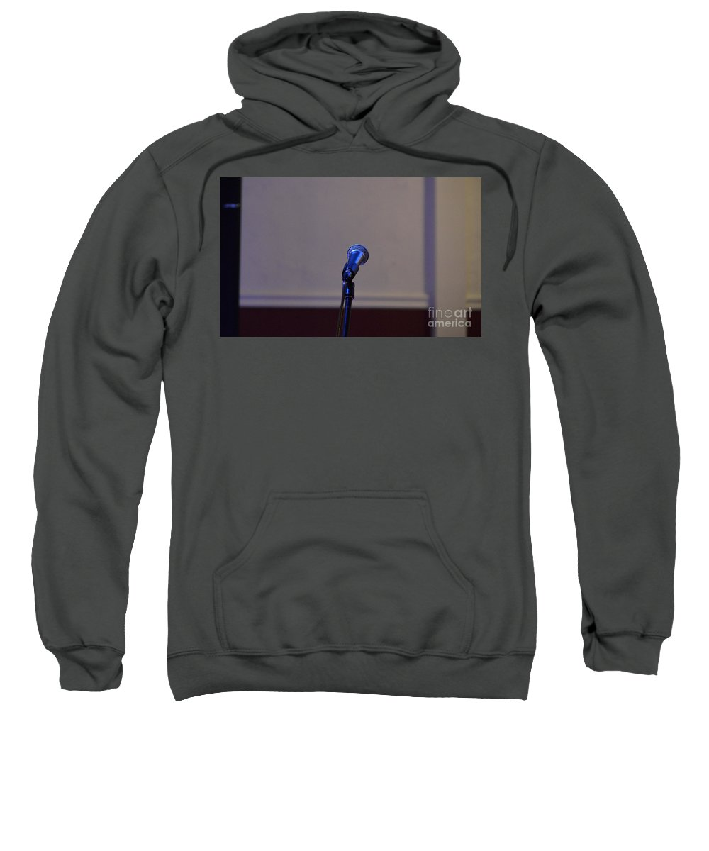 Microphone Sweatshirt featuring the photograph The Stage Awaits by Alys Caviness-Gober
