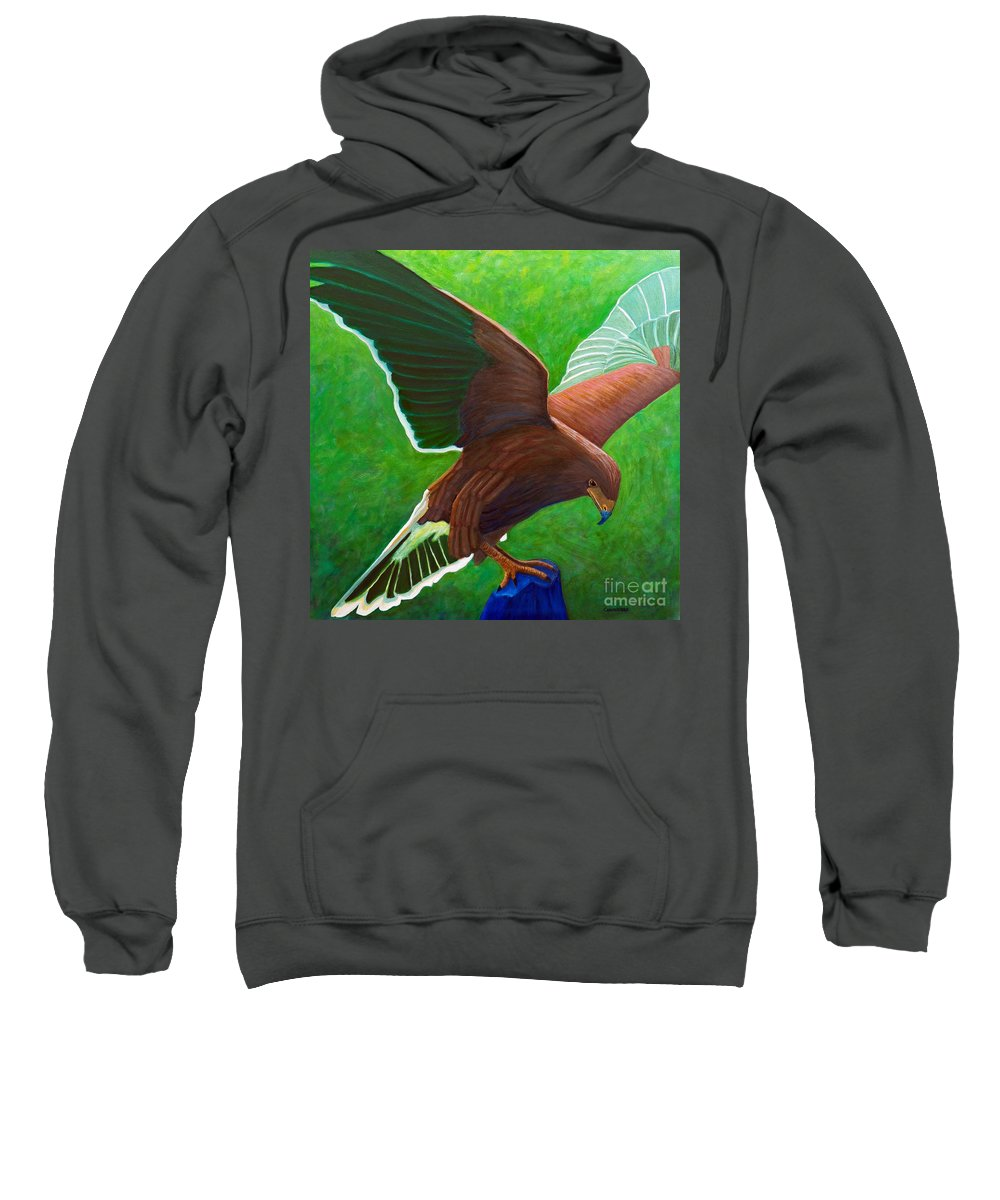 Hawk Sweatshirt featuring the painting The Sun Above by Brian Commerford