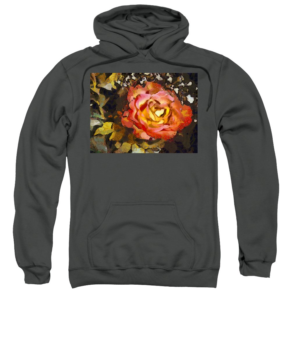 Sweet Sweatshirt featuring the mixed media The Sweetest Rose 1 by Angelina Vick
