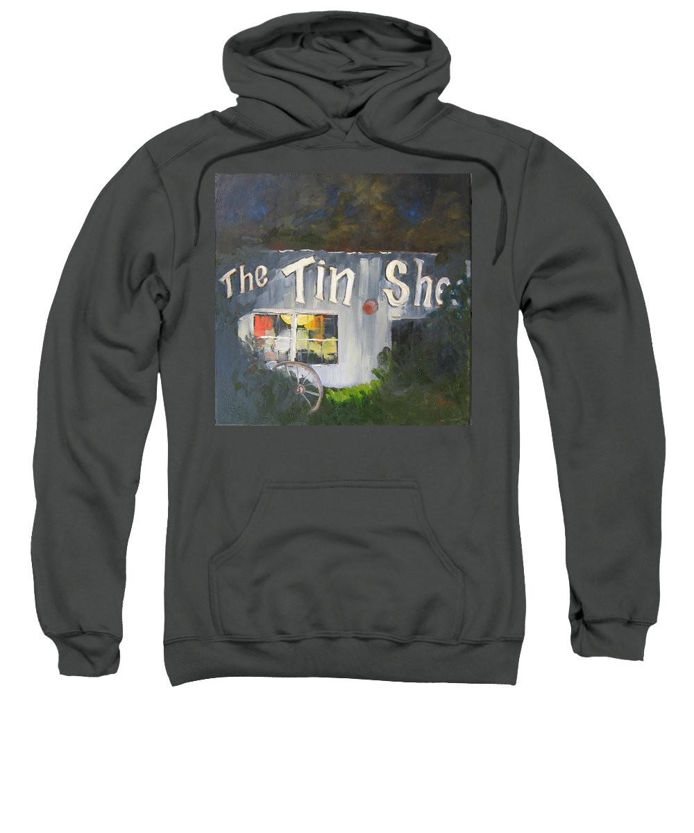 Apalachicola Sweatshirt featuring the painting The Tin Shed by Susan Richardson