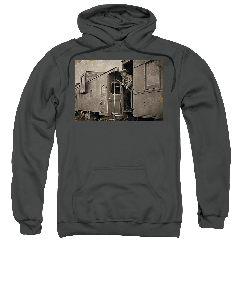 Photograph Sweatshirt featuring the photograph The Train Robber by Marcia Colelli