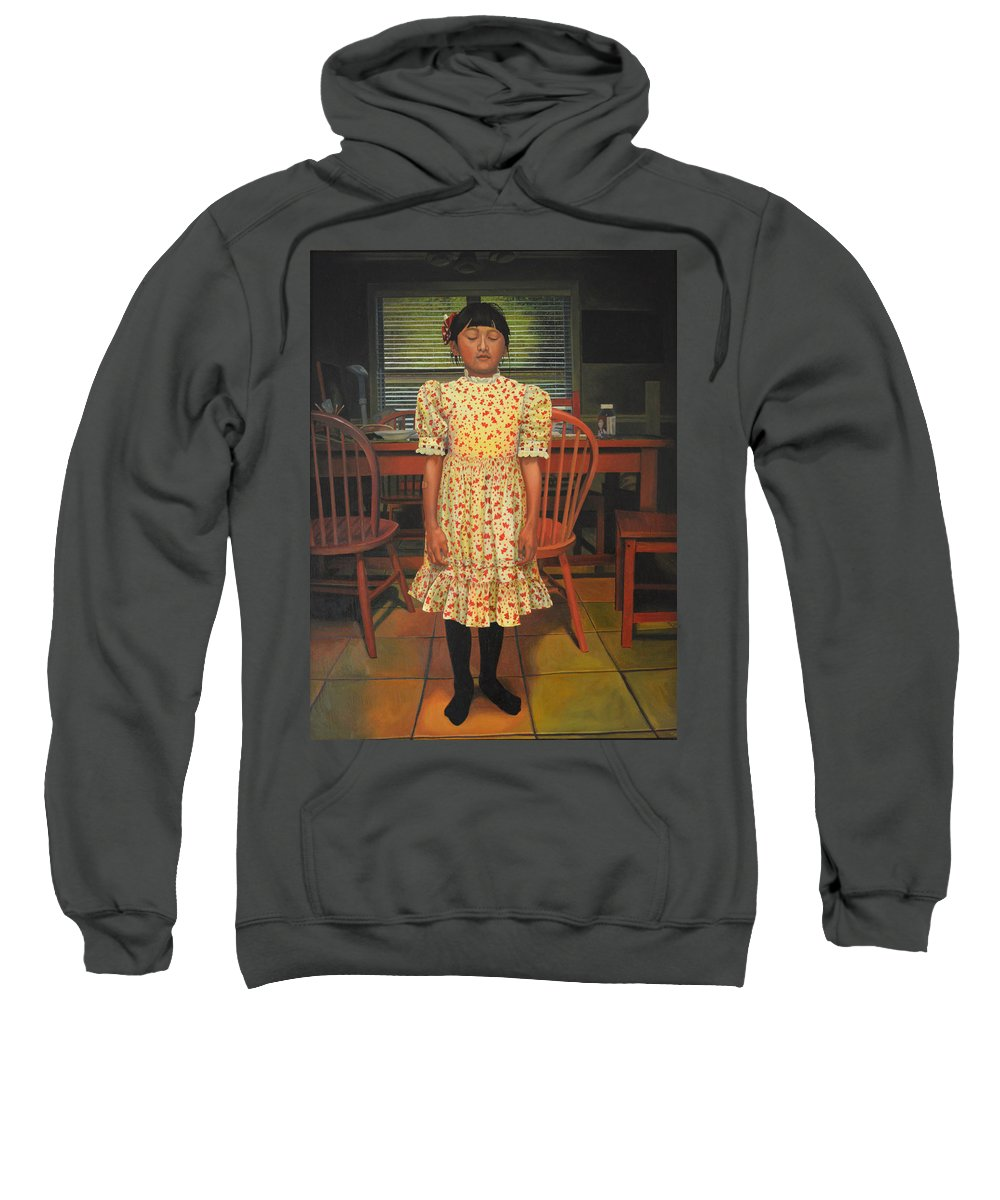 Children Paintings Sweatshirt featuring the painting The Valentine Dress by Thu Nguyen