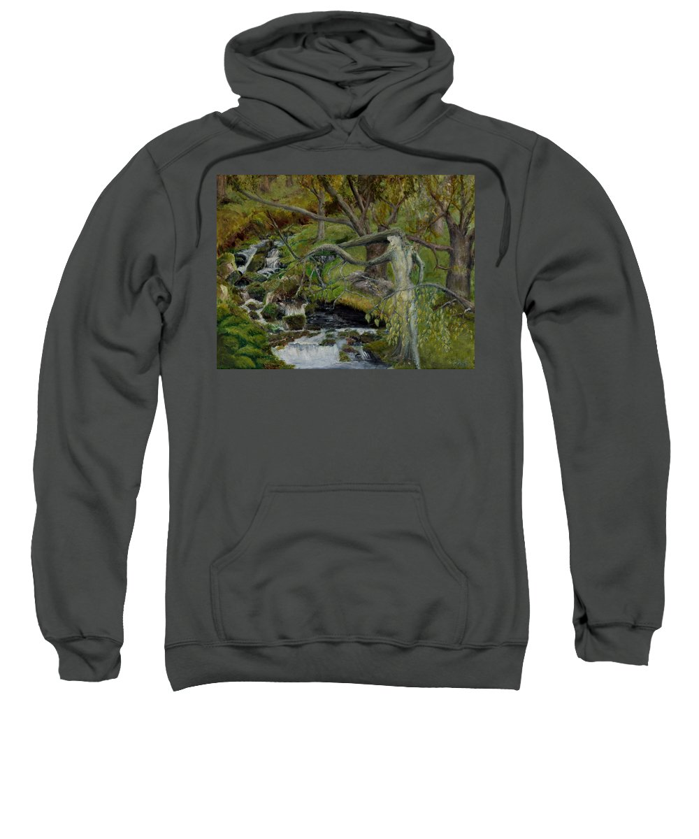 Landscape Sweatshirt featuring the painting The Willow Woman Washing Her Hair by Kathryn Bell