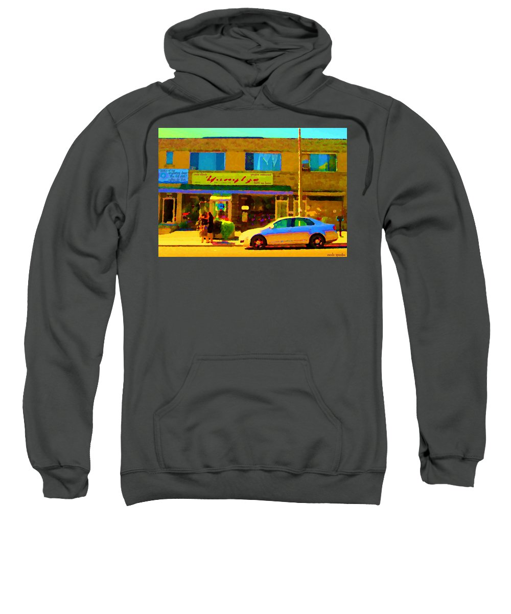 Montreal Sweatshirt featuring the painting The Yangtze Chinese Food Restaurant On Van Horne Montreal Memories Cafe Street Scene Carole Spandau by Carole Spandau
