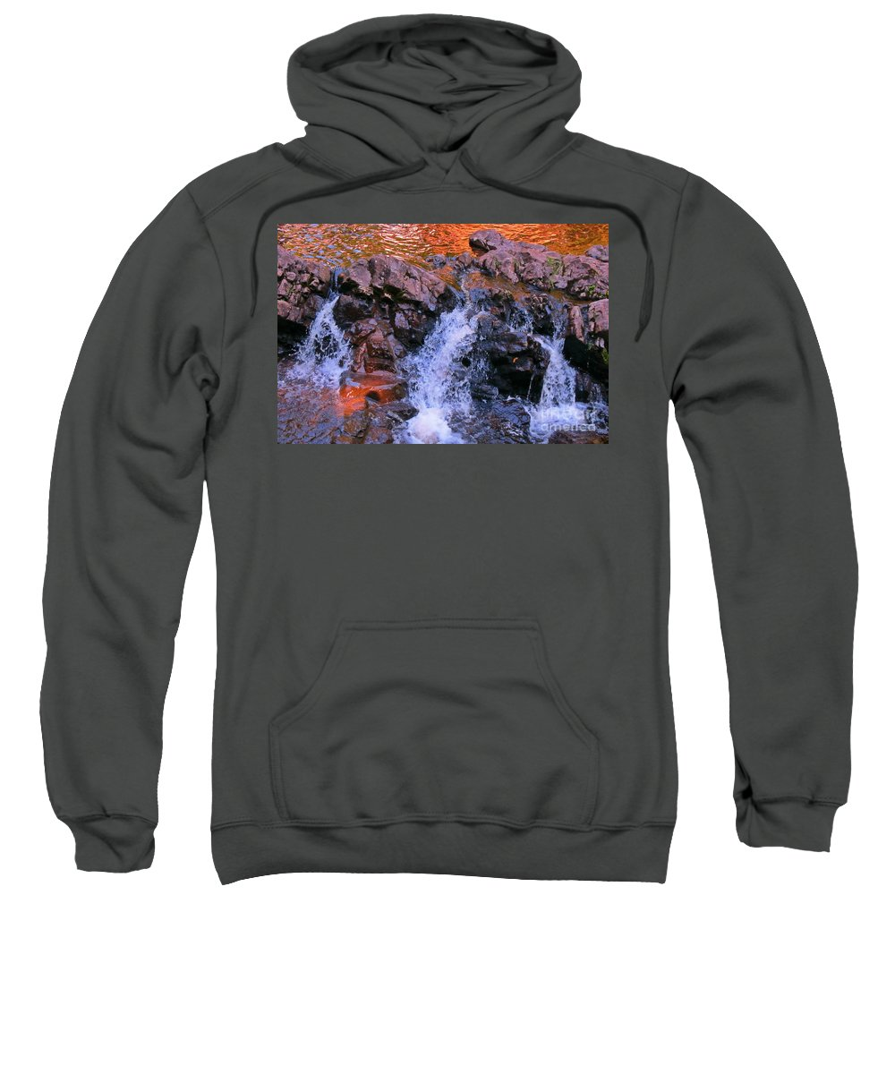 Waterfall Prints Sweatshirt featuring the photograph Three Little Forks In The Waterfall by John Malone