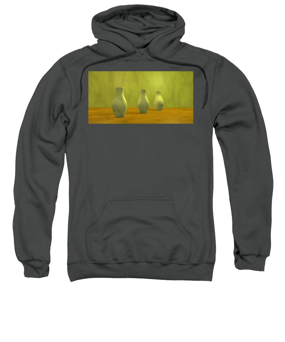 Still Life Sweatshirt featuring the digital art Three Vases II by Gabiw Art