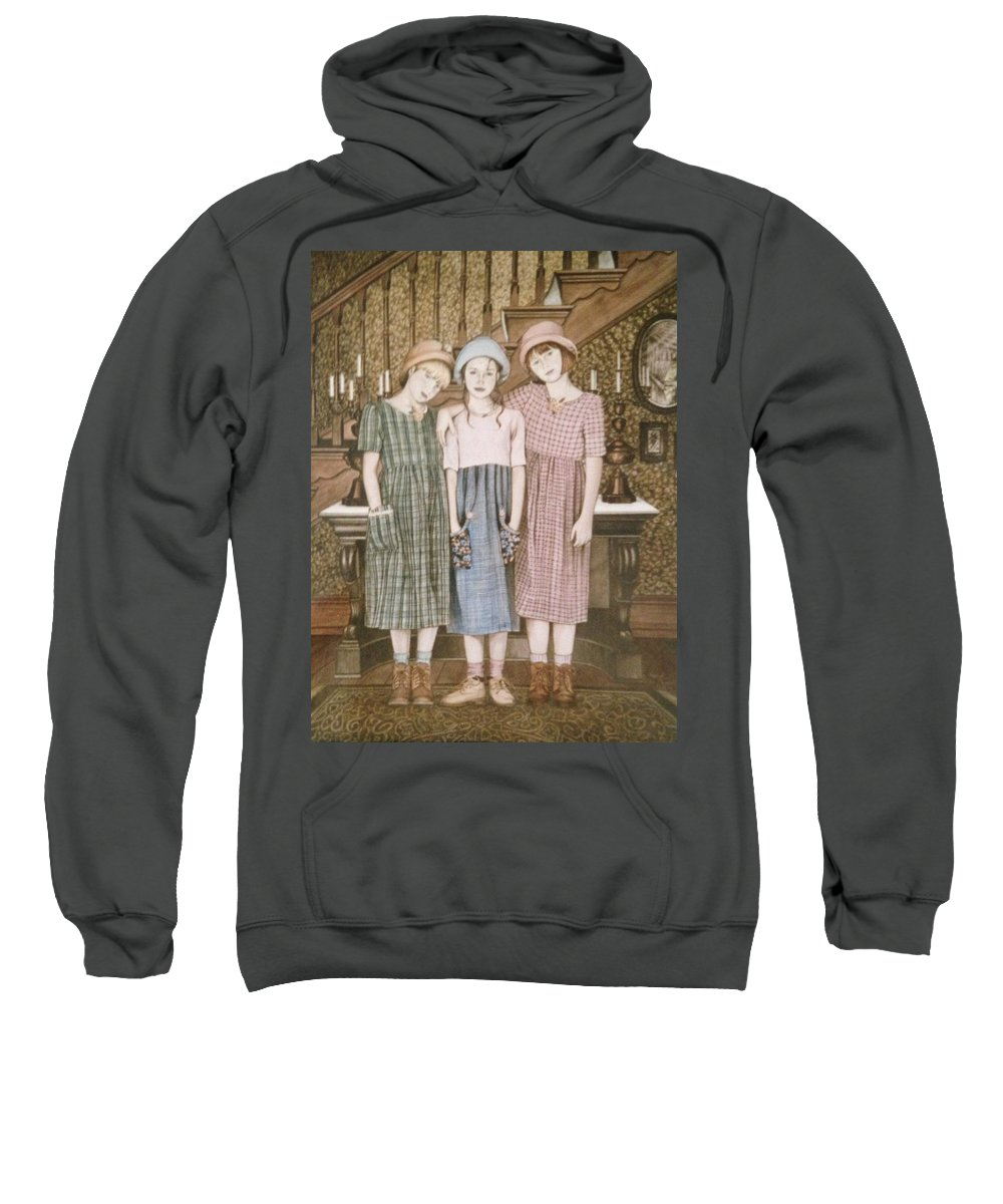 Sisters Sweatshirt featuring the painting Thru Thick And Thin by Nancy M Garrett