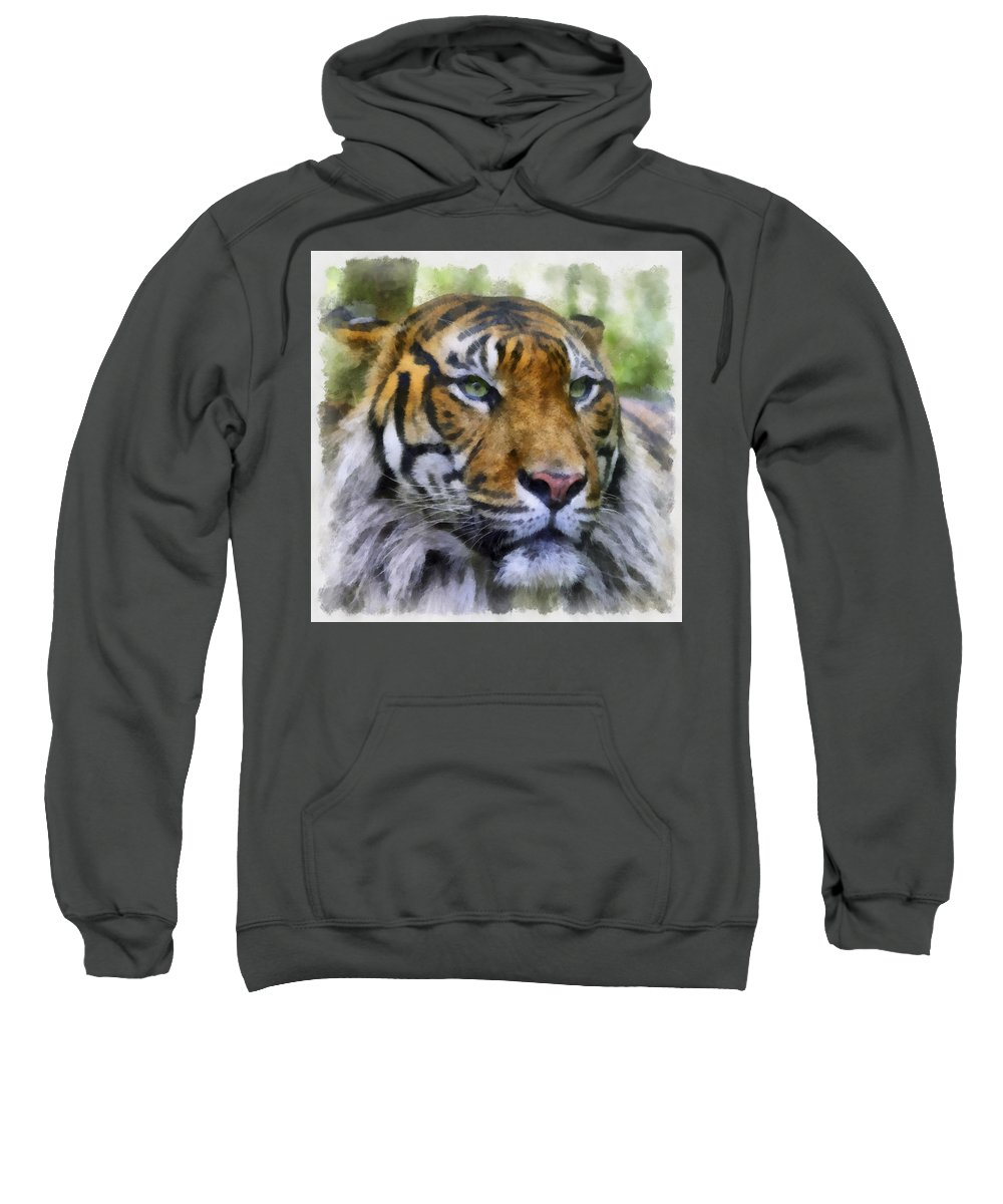 Aquarell Sweatshirt featuring the photograph Tiger 26 by Ingrid Smith-Johnsen