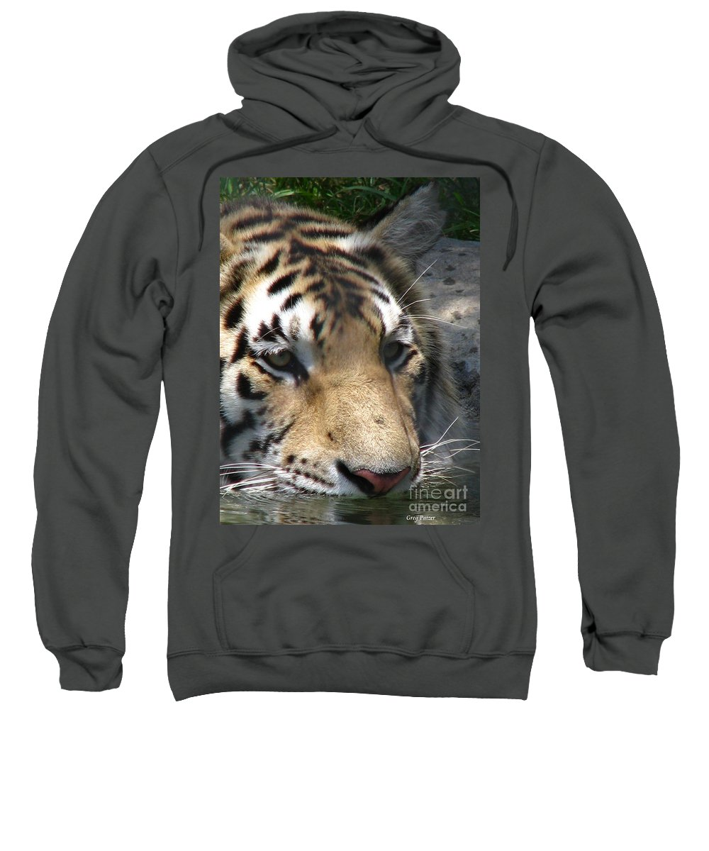 Patzer Sweatshirt featuring the photograph Tiger Water by Greg Patzer