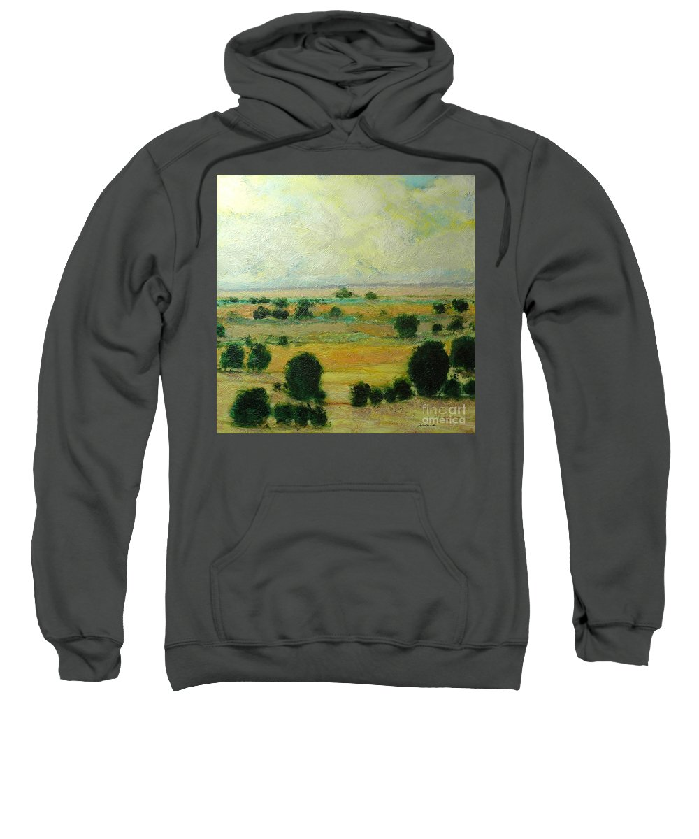 Landscape Sweatshirt featuring the painting Till The Clouds Rolls By by Allan P Friedlander
