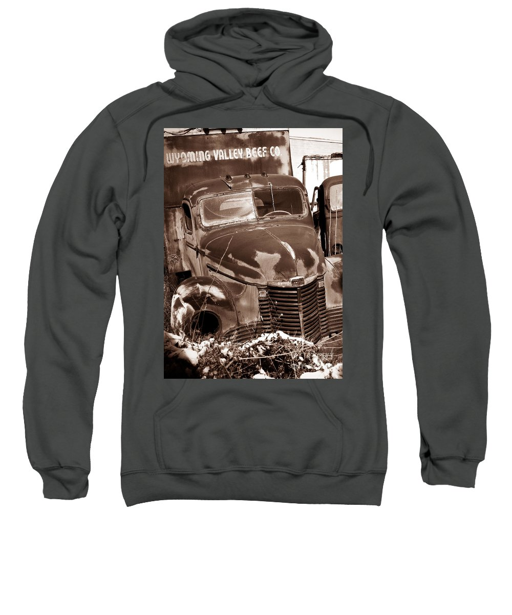 Sweatshirt featuring the photograph Time Traveler Pennsylvania Ave Wilkes Barre Pa by Arthur Miller
