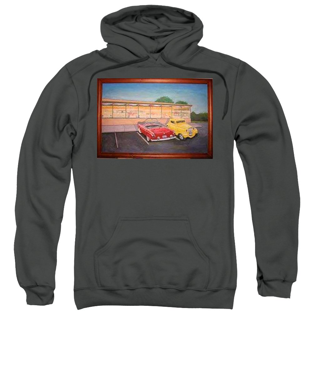 Rick Huotari Sweatshirt featuring the painting Times Past Diner by Rick Huotari