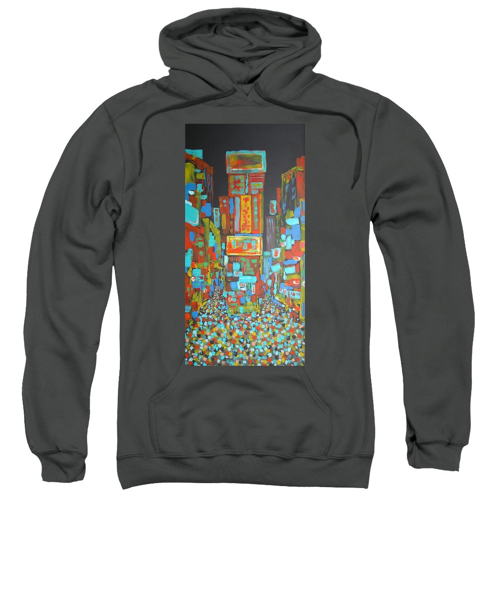 Times Square Sweatshirt featuring the painting Times Square by Rhodes Rumsey