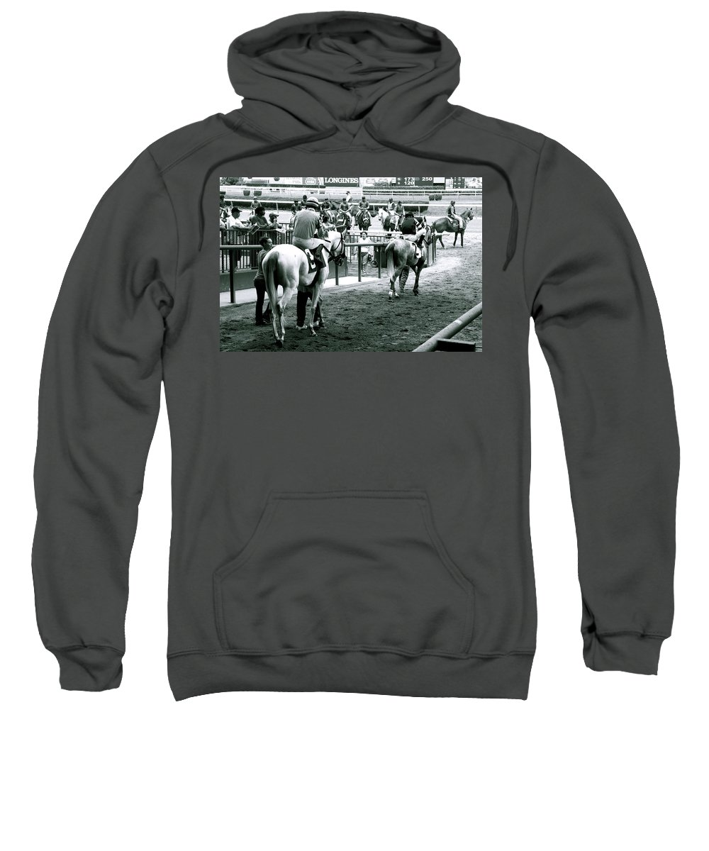Horse Racing Jockeys Track Belmont Racetrack Black And White Sweatshirt featuring the photograph To The Track by Alice Gipson