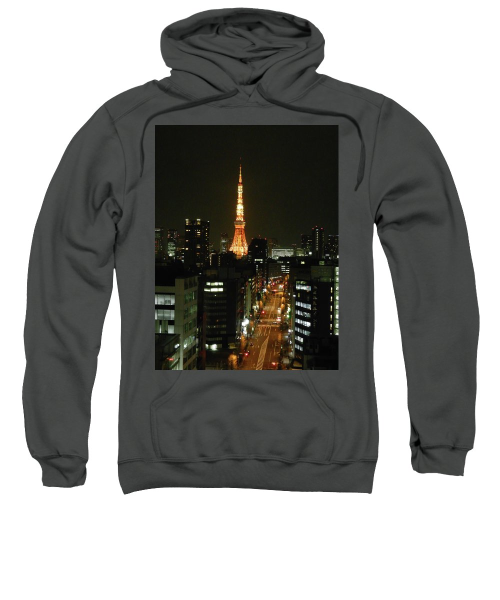 Guy Whiteley Photography Sweatshirt featuring the photograph Tokyo Tower At Night by Guy Whiteley