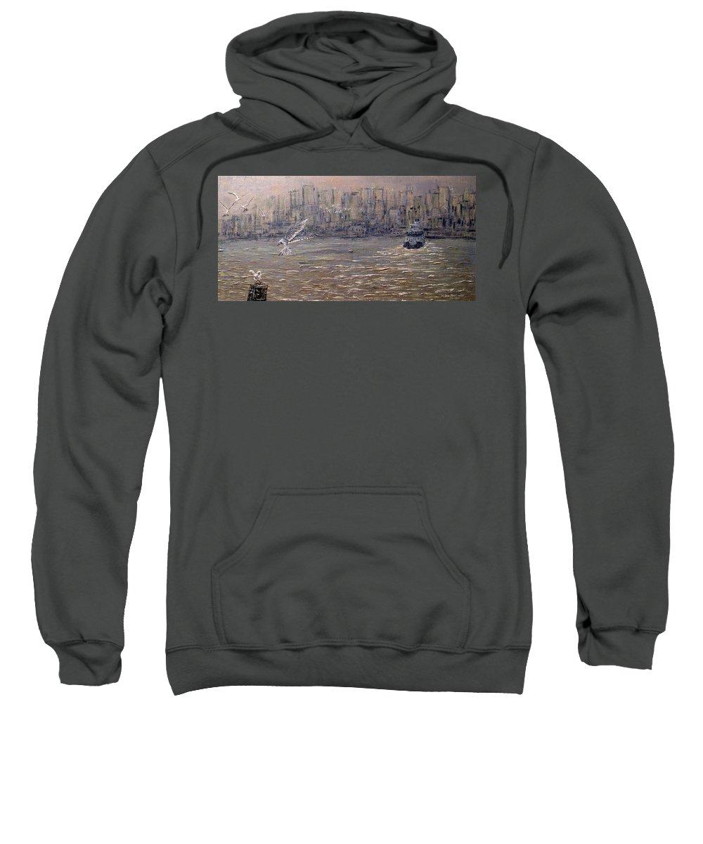 Toronto Sweatshirt featuring the painting Toronto Harbor Morning by Ian MacDonald