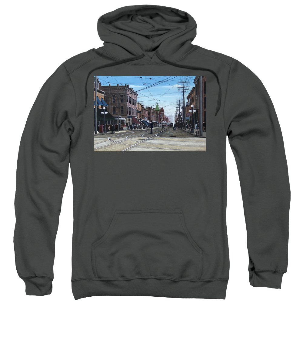 Streetscapes Sweatshirt featuring the painting Toronto Yonge And College 1916 by Kenneth M Kirsch