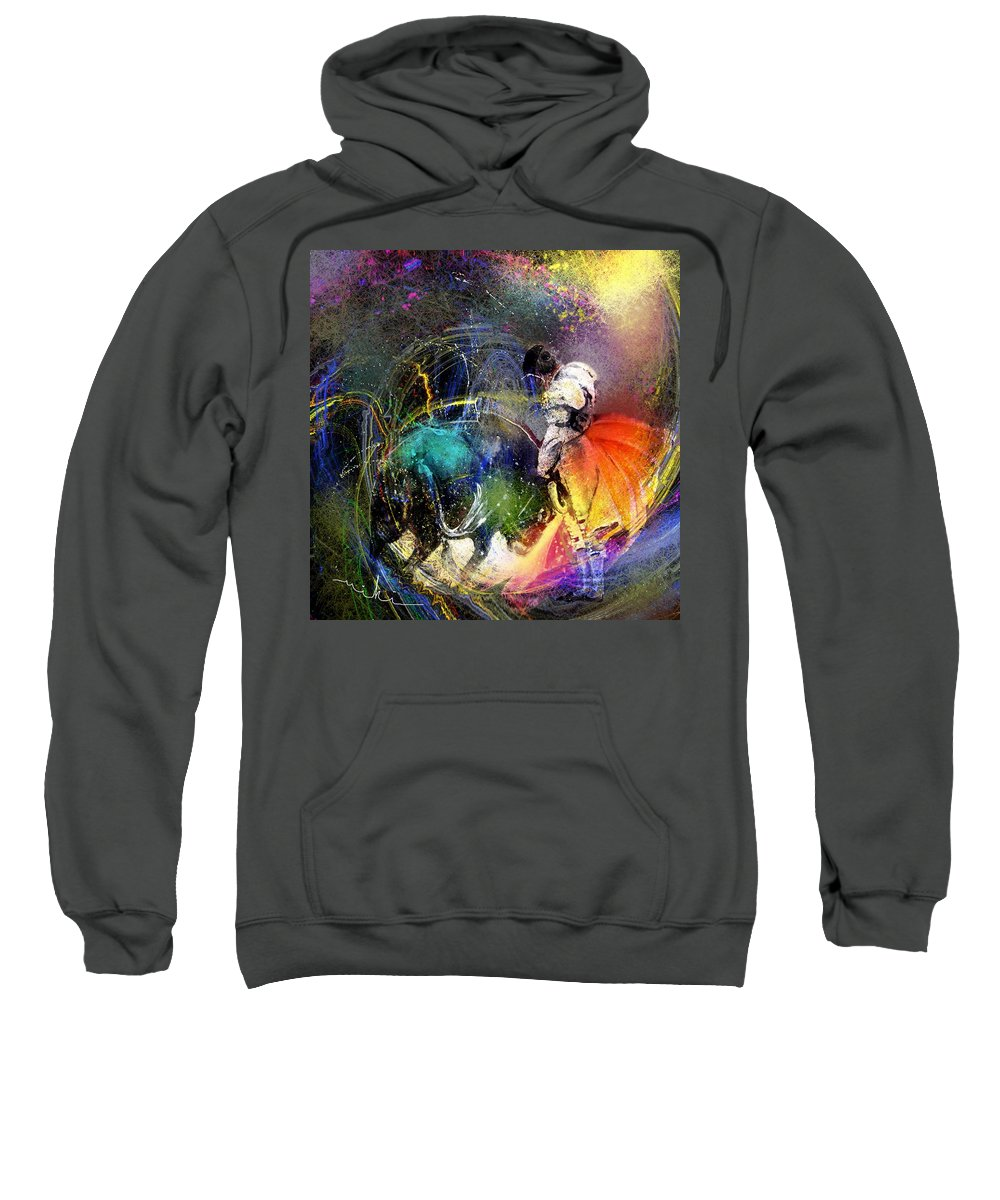 Bullfight Sweatshirt featuring the painting Toroscape 20 by Miki De Goodaboom