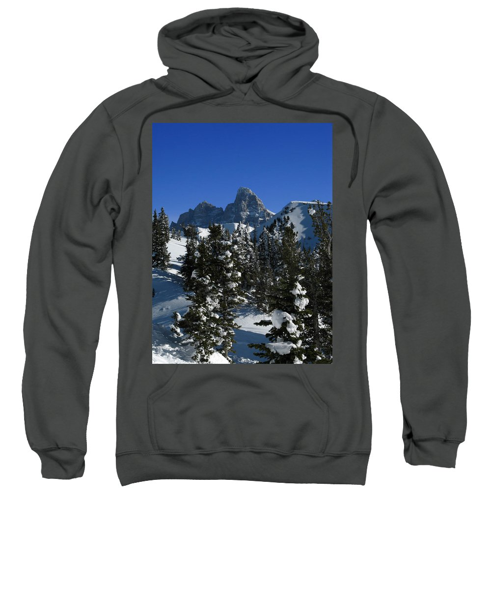 Grand Teton Sweatshirt featuring the photograph Towering Above Lies The Grand by Raymond Salani III