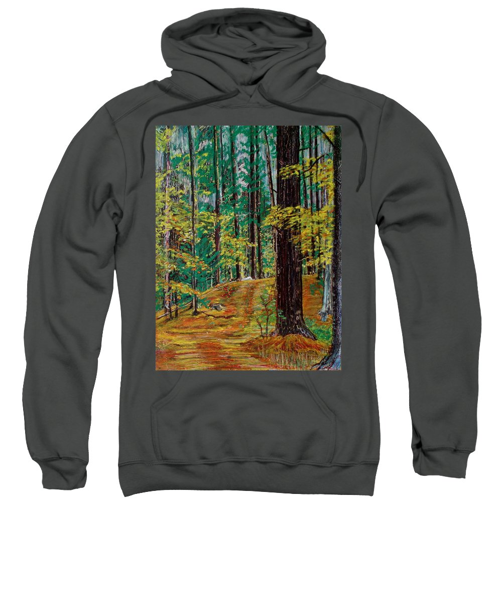 New Hampshire Sweatshirt featuring the pastel Trail At Wason Pond by Sean Connolly
