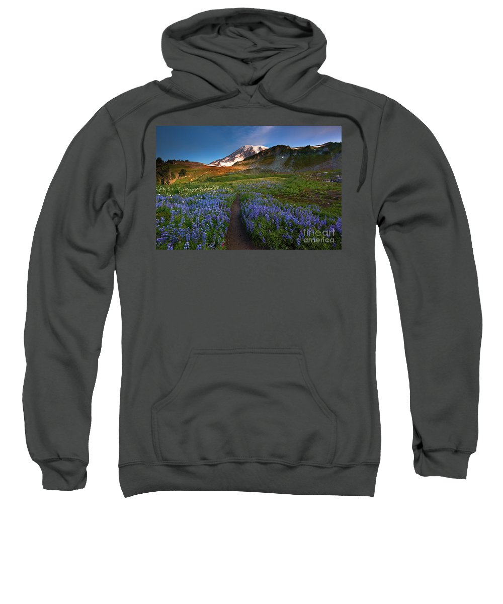 Mt. Rainier Sweatshirt featuring the photograph Trail To Majesty by Mike Dawson
