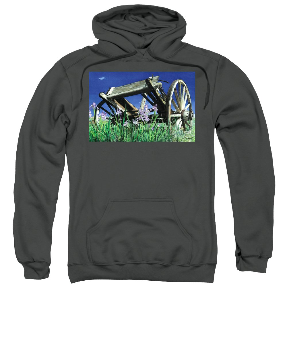 Trail's End Sweatshirt featuring the painting Trail's End by Barbara Jewell