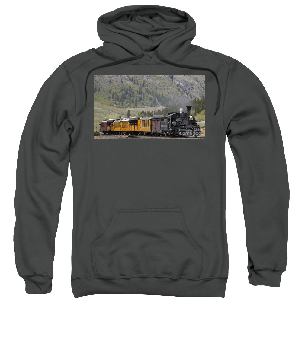 Cumbres & Toltec Sweatshirt featuring the photograph Train Arriving In Silverton by Tim Mulina