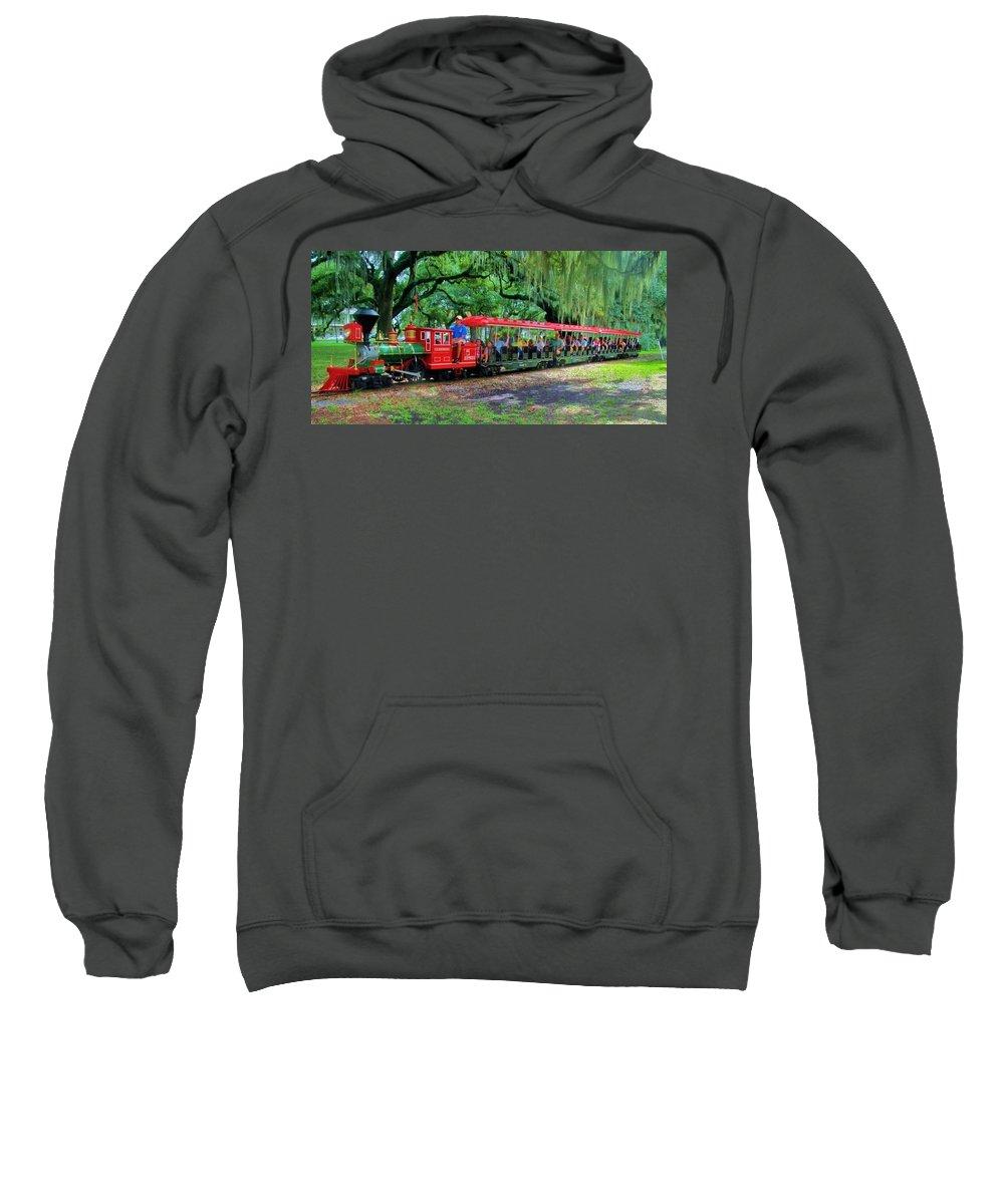 Train Sweatshirt featuring the photograph Train - New Orleans City Park by Deborah Lacoste